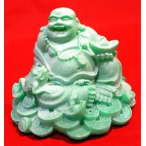 Buda De Resina Verde Para La Salud Feng Shui.