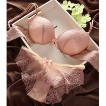 Coordinado De Lencería Fina Push Up Nude Y Rosa