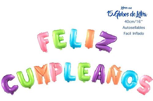 Globos De Letra Metalicos Feliz Cumpleaños 40 Cm Letrero N21