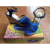 Sandalia Con Cuña Sporty Finos #25.5 Azul Nuevas
