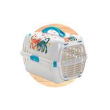 Transportadora Gato Puerta Plástico Max 5 Kg Morado Y Azul