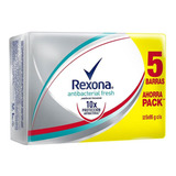 Jabón Rexona Antibacterial Fresh 5pack 95g C/u