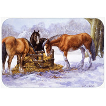 Caballos Que Comen Heno En El Cristal De La Nieve Tarjeta De