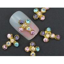 10pz Decoracion Uñas Perla Cruz Calcamonias Cristal Moño 3d
