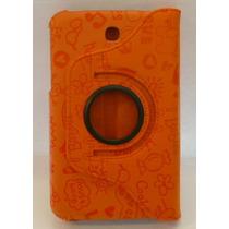 Funda Giratoria Samsung Galaxy Tab 3 7 Pulgadas Naranja Deco