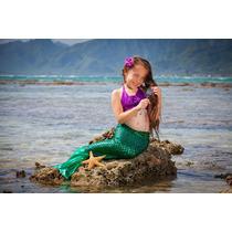 Colas De Sirena Disfraz Ariel Para Nadar 2 A 5 De Edad
