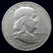 Moneda Half Dollar 1958 Franklin De Plata