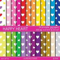 Kit Imprimible Pack Fondos Amor Corazones 6 Clipart