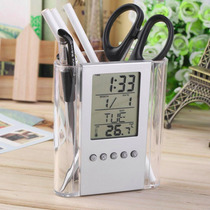 Reloj Display Lcd Alarma Termometro Fecha C/porta Lapices
