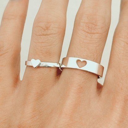 e3ae9fe8fbf6 Par Argollas Matrimonio Pareja Corazón Plata .925 Boda Amor en venta ...