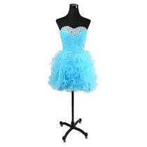 Baituya Azul Vestido De Boda Piesta De Chifon Corto Elegant