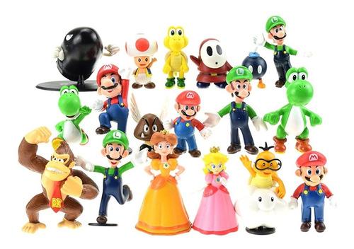 Set 18 Figuras Muñecos Mario Bros Luigi Yoshi Toad Donkey