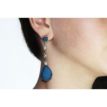 Aretes Moda Azules Largos Biselados Ar81
