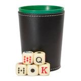 Cubilete Profesional, Vaso Estriado. Incluye 5 Dados Poker