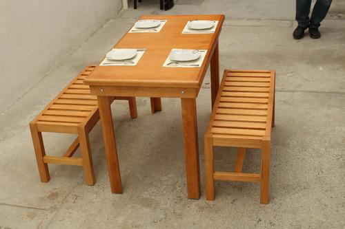 4 Personas Comedor Lounge Madera Bancas Minimalista Vintage