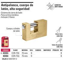 Candado Antipalanca, Cuerpo De Latón De 75mm, Alta Seguridad