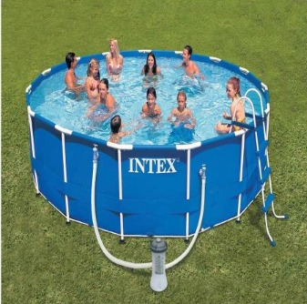 Alberca gigante piscina familiar intex bomba escalera for Alberca familiar intex