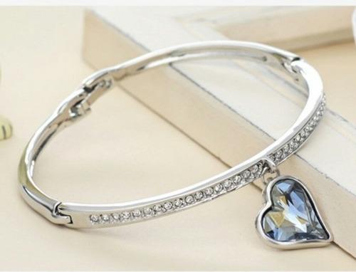 2f0bfd27a5dd Pulsera Corazón Oro18kgp Cristal Azul Swarovski Elem Regalo