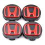 4x Centro Tapón De Rin Honda 58mm Negro Con Rojo