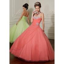 Hermoso Vestido De Quinceañera Tul Cristales Alta Costura