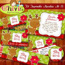 Kit Imprimible Navidad No 15 Tarjetas Invitaciones Candy Bar