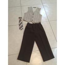 Traje Formal 3 Piezas Café Pantalon Corbata Chaleco T Polo