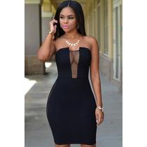 Sexy Mini Vestido Negro Strapless Transparencias En Costados