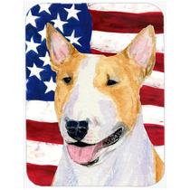 Bandera Americana Con Ee.uu. Bull Terrier De Cristal Tabla D