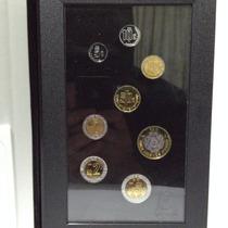 Set 1995 Con 8 Monedas Acabado Espejo Estuche De Piel