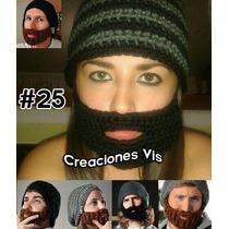 Gorro Con Barba Tejido Crochet Todas Las Tallas Moda