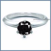Anillo De Compromiso Diamante Natural Negro Oro 10k -50% 016