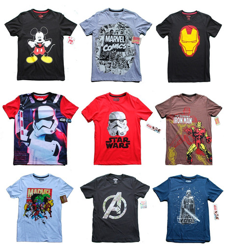 Lote 5 Playeras Hombre Marvel Star Wars Mickey Disney 6532f42a2b647