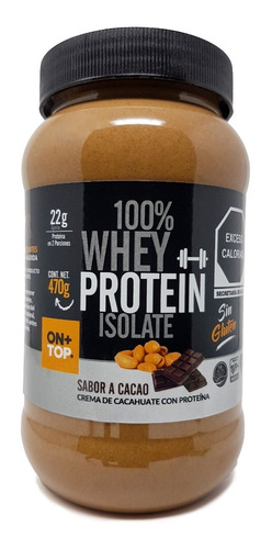 Crema De Cacahuate Con Cacao + Whey Protein Isolate 470g.