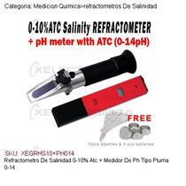 Refractometro Salinidad 0-10% Atc+medidor Ph Tipo Pluma 0-14