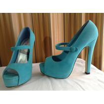 Zapatillas Tipo Ante Color Azul Agua Aviesta Talla 25.5