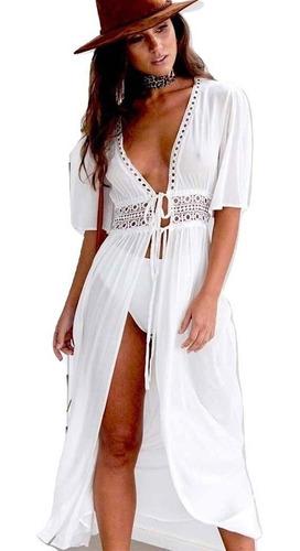 416673d80165 Salida De Playa Blanca Larga Tipo Vestido Pareo Cover Up en venta en ...