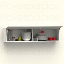 Alacena Gabinete Cocina Modular Piston Push Blanco Gris Mate
