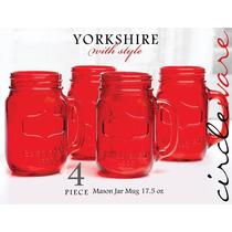 Mason Jars Yorkshire Color Rosa Para Decoración Set De 4 Pz.