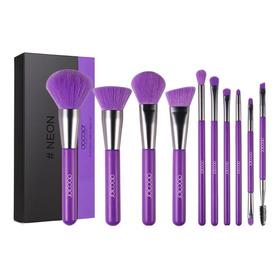 Set De 10 Brochas De Maquillaje Docolor N1002 Neón Púrpura