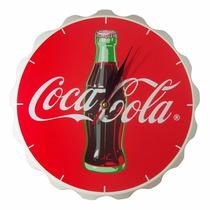 Reloj De Pared Coleccionable Coca Cola Ficha Madera 33 Cm
