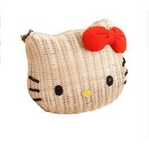 Bolsa Hello Kitty Rattan Blanco Moda Japonesa Nueva.grande