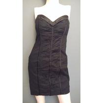Vestido Marca Bebe Strapless Negro Stretch Antro