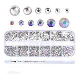2440 Cristales Con Estuche Para Decoracion De Uñas  Color Tornasol Y Cristal Del No 2,4,6,8,10 Y 12 Mas Lapiz Aplicador