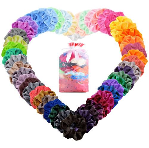 60 Colores Gomas De Pelo Scrunchies Terciopelo Pare Mujer