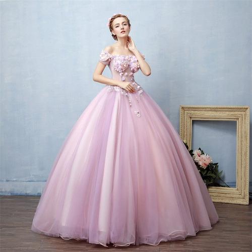 Vestido Xv Años Rosa Flores Envió Gratis Q 1800320008 En