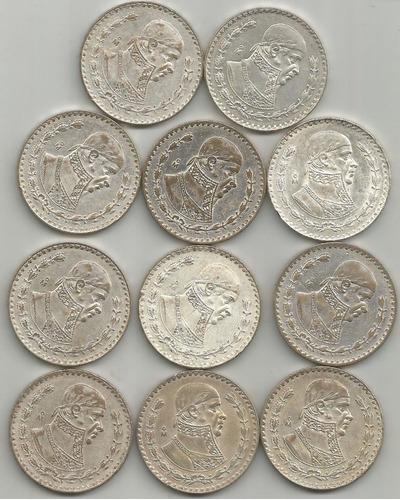 Coleccion De 11 Pesos Plata Ley 0.100