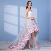 Vestido De Fiesta Xv Anos Dama Con Flores 3d Importado En Venta En