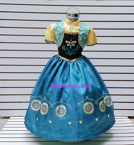89a21e7d0 Vestido Disfraz Anna Frozen Fever De Lujo Ana Niñas