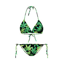 Sexy Bikini Retro Vintage Hippie Estampad Cannabis Marihuana