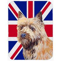 Cairn Terrier Con Unión Jack Británica Inglés Cristal De